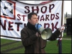 Rob Williams, with Onay Kasab, addresses 200 trade unionists, community campaigners and service users marched in Greenwich borough, south London, against the local council's brutal cuts package, photo Lorraine Dardis