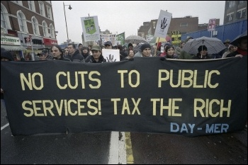 Anti-cuts protest@ 800 angry Hackney residents as we marched through the borough to the town hall on Saturday 19 February, photo by Paul Mattsson