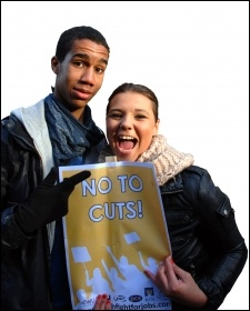 No to cuts! Youth Fight for Jobs demonstration, photo by Suzanne Beishon