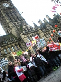 Sure Start protest in Manchester, photo by Hugh Caffrey