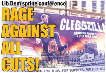 Rage against the cuts at the Lib Dem spring conference protest, Sheffield