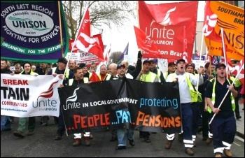 Demonstration in Southampton by Unite and Unison against Tory attacks on terms and conditions and cuts in public services. Around 1000 workers took part , photo by David Smith