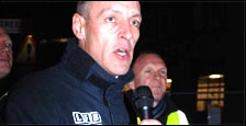 Ian Leahair, Fire Brigades Union (FBU) executive council member for London, on picket line , photo by Suzanne Beishon