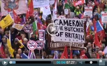 Half a million march through central London against the ConDem cuts on TUC demonstration, photo Socialist Party