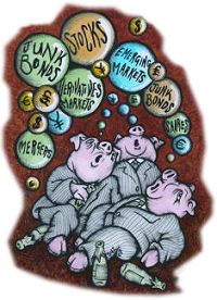 Bubbles: Socialism Today, May 2007, anticiapted the c rash. Cartoon by Suz