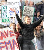 Students protest at ConDem plans to scrap the EMA last November, photo by Senan