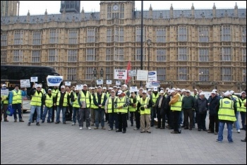200 Visteon pensioners demonstrated outside parliament on Tuesday 29 March as Ford executives met MPs, photo by Mike Gard