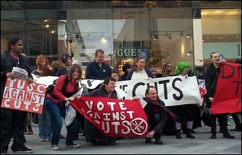 Leicester Youth Fight for Jobs helped organise a protest against Nick Clegg visit, photo Leicester YFFJ