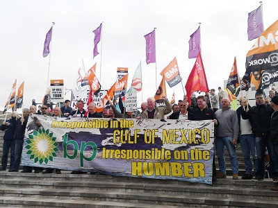 Protest of locked out Saltend construction workers at BP AGM in London on 14.4.11, photo Sarah Wrack