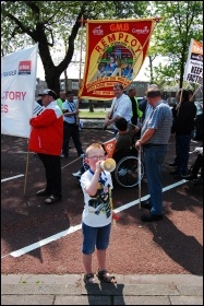 Wales May Day celebrations, with young TUSC supporter, photo Les Woodward