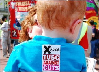 Wales May Day celebrations, with young TUSC supporter, photo Alec Thraves