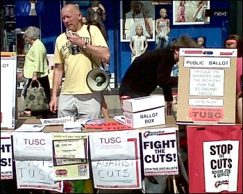 Campaigning for TUSC in Swansea, photo by Socialist Party Wales