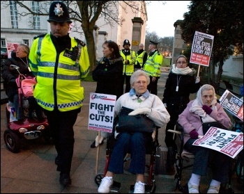 Pensioners and elderly disabled people protesting against cuts in services outside Waltham Forest council, photo Paul Mattsson
