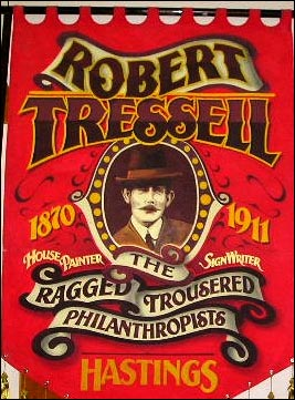 Robert Tressell Banner, made for the Robert Tressell Society in Hastings, showing The Ragged Trousered Philanthropists.