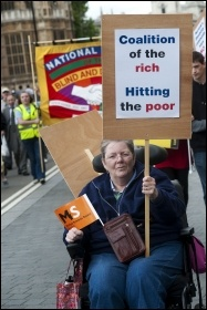 Hardest Hit Protest: Disabled people and their families protest in central London against government spending cuts, photo Paul Mattsson