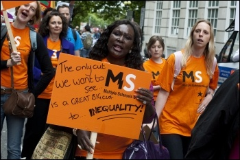 Disabled people and their families protest in central London against government spending cuts, photo Paul Mattsson