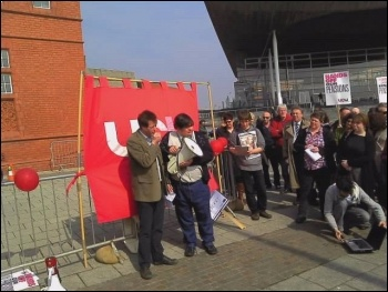 Guy Stoate (L) addresses a UCU Cymru rally in defence of pensions in Cardiff Bay on 24.511. Photo by Edmund Schluessel