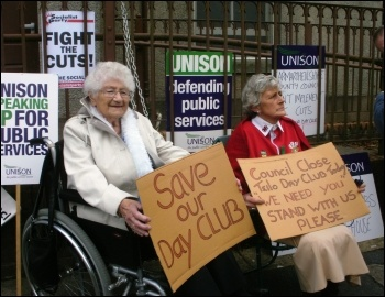 Demonstration against closure of day centre in Llandeilo, Wales: Users of Noddfa Teilo Day Club in Llandeilo, Carmarthenshire, protest, photo Socialist Party Wales