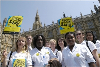 Marching against NHS cuts and privatisation - protest by Royal College of Nurses (RCN) in 2006, photo Paul Mattsson