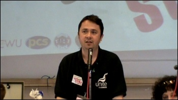 Rob Williams, NSSN chair, speaking at National Shop Stewards Network Conference June 2011, photo by  Socialist Party