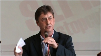 Chris Baugh, PCS Assistant General Secretary, speaking at National Shop Stewards Network Conference June 2011, photo by  Socialist Party
