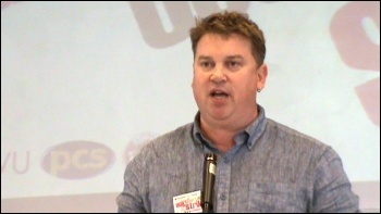Alex Gordon, Rail, Maritime and Transport union (RMT) president, speaking at National Shop Stewards Network Conference June 2011, photo by  Socialist Party