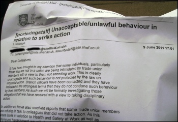 Sheffield University HR email sent to support staff, June 2011, photo by Sheffield Socialist Party