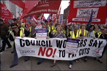 Over 1,000 council workers, striking Medirest cleaners and others marched through Southampton on 13 June in a powerful show of solidarity against vicious council cuts and the scandalous consequence of the private sector in the NHS , photo Paul Mattsson