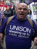Unison members on the 26th March TUC demonstration, photo Paul Mattsson