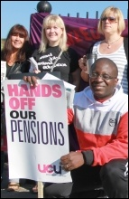 30 June pensions strike; London demo, photo Senan