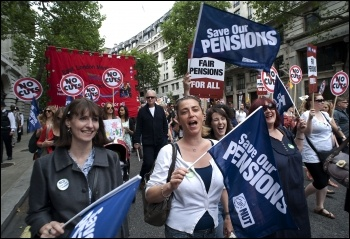 30 June coordinated strike action by the PCS civil service union and NUT, ATL and UCU teaching unions, photo Paul Mattsson