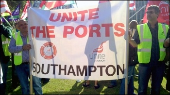 Southampton port workers join protest as council workers face the sack
