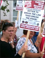 Better to break the law than break the poor: National Shop Stewards Network placard