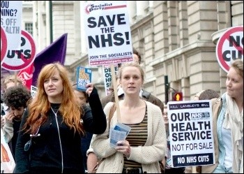 Marching against NHS cuts and privatisation , photo Paul Mattsson