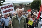 10,000 marched against job cuts at Bombardier on Saturday 23 July in the biggest demonstration in Derby for decades, backed by the RMT and other trade unions, photo Paul Mattsson