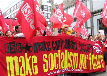Make Socialism Our Future: ISR / CWI banner on the Anti-G8 demonstration in 2005, photo by Paul Mattsson