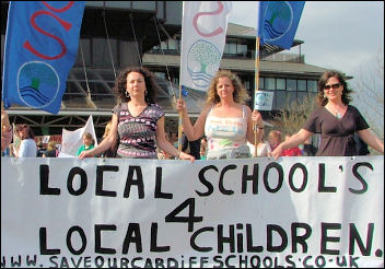 Cardiff parents beat council cuts in 2006, photo Socialist Party Wales