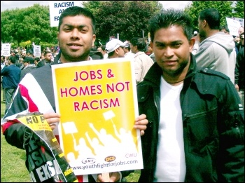 Youth Fight for Jobs placard on the successful anti-EDL demonstration in Tower Hamlets in June 2010, photo P Mason