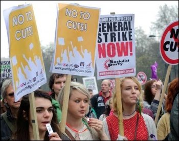 Not to Cuts: for a 24 hour general strike now! - Socialist Party and Youth Fight for Jobs on demo, photo Paul Mattsson