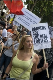 Bankers are the real looters - Hackney - Tottenham demo after the riots, photo Paul Mattsson