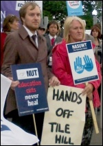 School students and teachers protest against academies at Tile Hill Wood school in Coventry , photo Coventry Socialist Party
