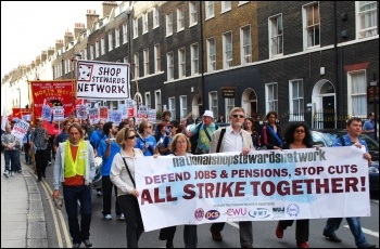 National Shop Stewards Network demonstration to lobby the TUC 11 September 2011, photo Sujeeth