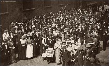 Women workers striking against povety wages at Pink's in Bermondsey in 1911, photo by TUC library collections