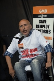 Remploy worker speaking at the TUC demonstration at Tory Party conference, photo Paul Mattsson