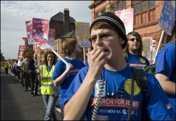 Youth Fight for Jobs Jarrow March 2011 launch demonstration in Jarrow, photo Paul Mattsson