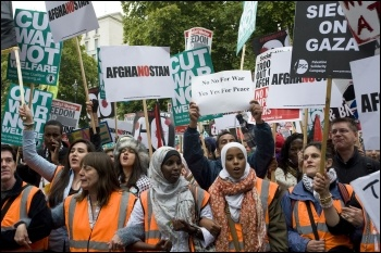 3,000 people took part in the Stop the War Trafalgar Square rally on Saturday 8 October to mark ten years of the war and occupation in Afghanistan, photo Paul Mattsson
