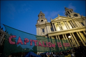 Anti-capitalist protest outside St Pauls in London following the Wall Street protests - We are the 99%, photo Paul Mattsson