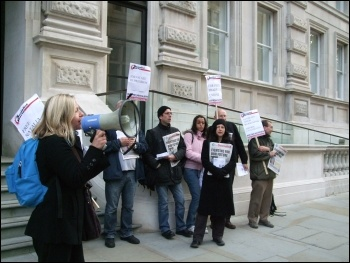 Protesting outside the Kazakhstan Business Forum, London, 20.10.11, Naomi Byron
