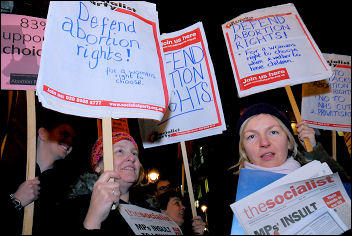 Picket of Tory MP Ann Widdecombe's anti-abortion meeting 6 February 2008, photo Paul Mattsson