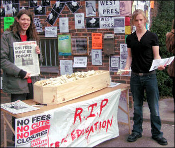 Socialist Students in Exeter did a debt-o-meter on the Campaign to Defeat Fees day of action in 2008, photo Jim THomsom
